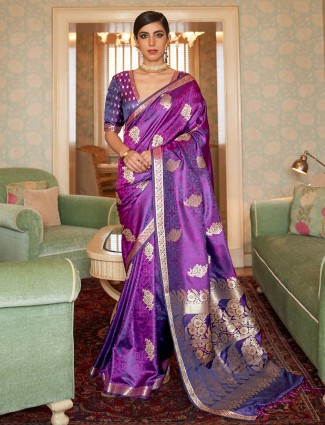 Gorgeous purple wedding wear jacquard silk saree for women