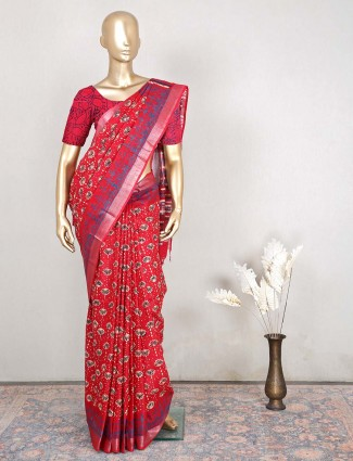 Gorgeous red cotton festive wear saree