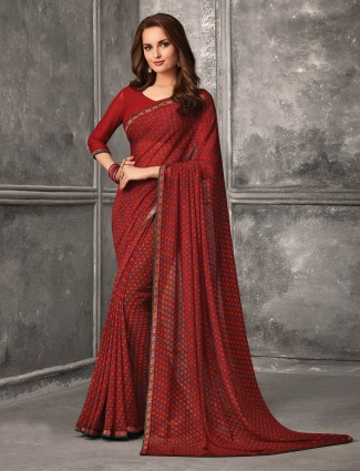 Gorgeous red georgette festive wear saree