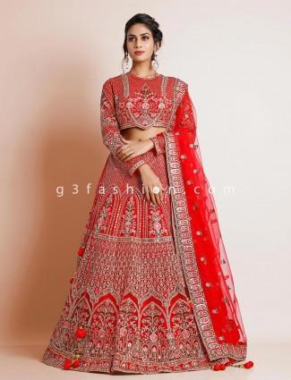 Gorgeous red net lehenga choli for wedding