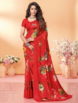 Gorgeous red printed crepe jacquard saree for festive wear