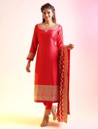 Gorgeous tomato red punjabi style salwar kameez for festive events