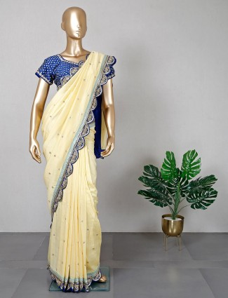 Gorgeous yellow festive wear cotton saree with ready made blouse