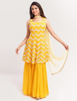 Gorgeous yellow punjabi style festive wear salwar suit