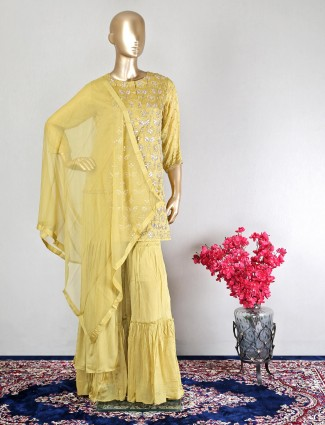 Gorgeous yellow satin festive wear sharara suit
