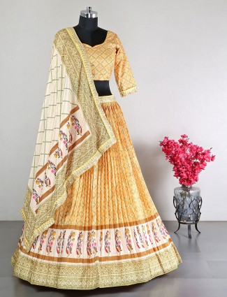 Gorgeous yellow silk party wear lehenga choli