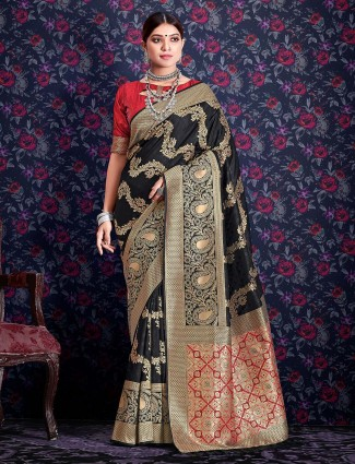 Grand black banarasi silk saree for wedding functions