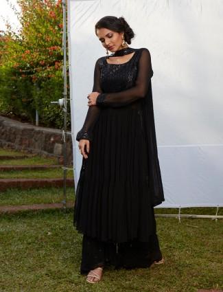Grand black georgette punjabi style wedding wear sharara suit