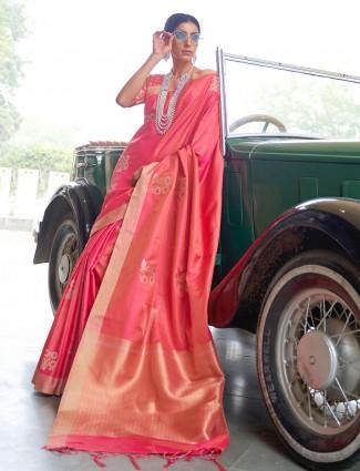 Grand peach banarasi silk saree for wedding functions