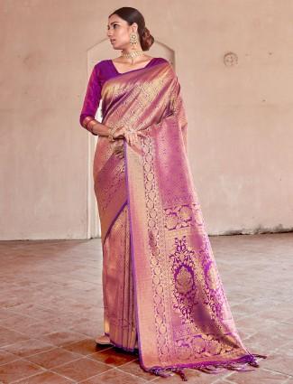 Grand purple kanjivaram silk saree for wedding functions