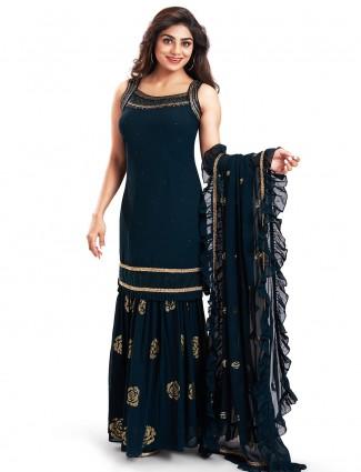 Grand teal blue punjabi style festive wear salwar suit
