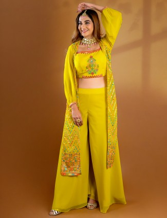 Grand yellow georgette palazzo suit for wedding events