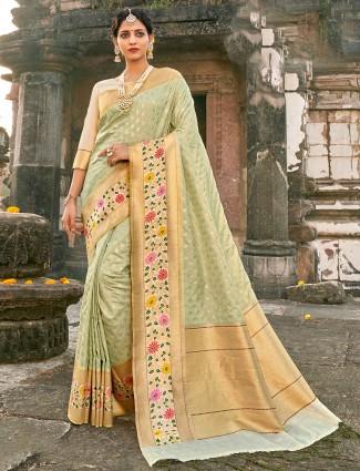 Grandiose banarasi silk wedding wear saree in pista green