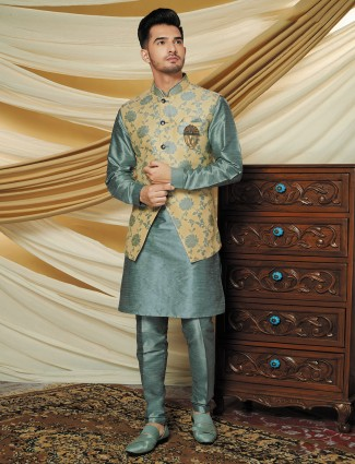 Green and beige raw silk party function waistcoat set
