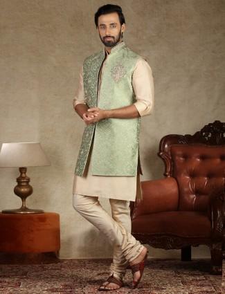 Green and beige silk part wear waistcoat set