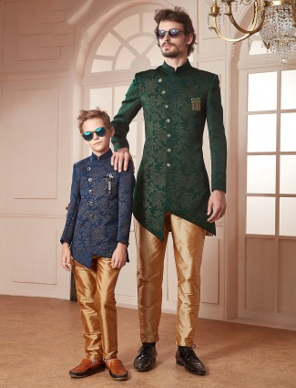 Green and navy color silk party father son indo western set
