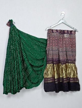Green and purple color bandhej sareefor festivals