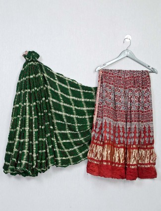 Green and red color bandhej saree