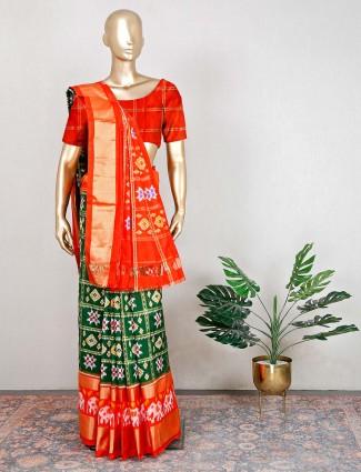 Green and red wedding patola silk saree