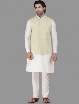 Green and white cotton waistcoat set