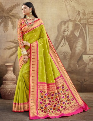 Green banarasi paithani silk wedding wear saree