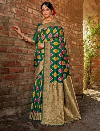 Green banarasi silk saree for festive with zari work