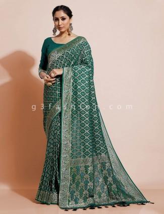 Green bandhej gorgette wedding saree