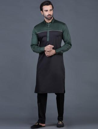 Green color cotton pathani suit
