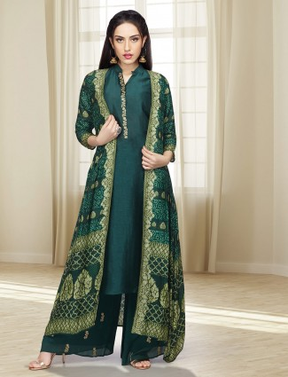 Green color cotton silk jacket style palazzo suit