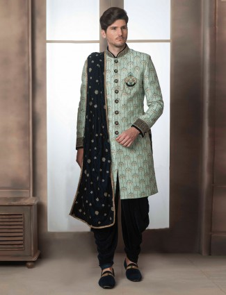 Green color raw silk fabric wedding wear indo western