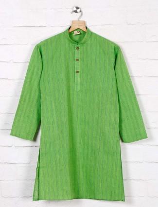 Green cotton festive get together kurta suit