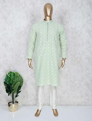 Green cotton festive occasion kurta suit