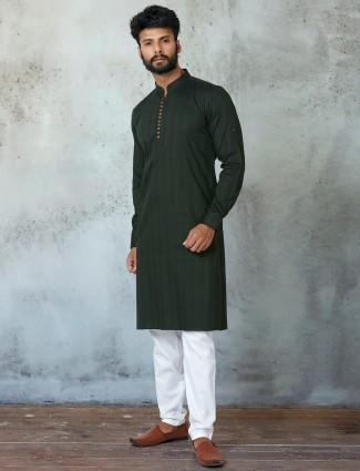 Green cotton festive special kurta suit
