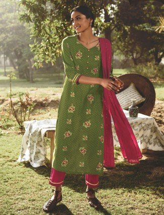 Green cotton festive wear punjabi style pant suit