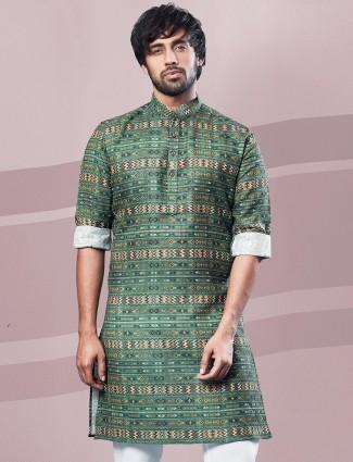 Green cotton full sleeves Printed kurta