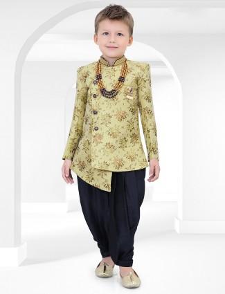 Green cotton silk fabric printed indo western