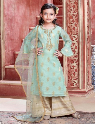Green cotton silk party wear palazzo suit