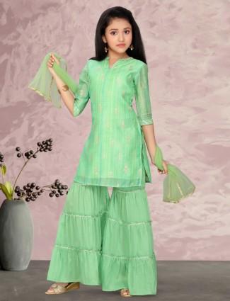 Green cotton silk zari decorated sharara suit for girls