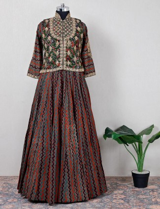 Green cotton wedding wear lehenga suit