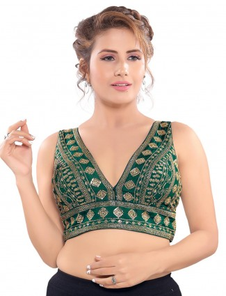 Green deep v neckline readymade blouse with sequin work