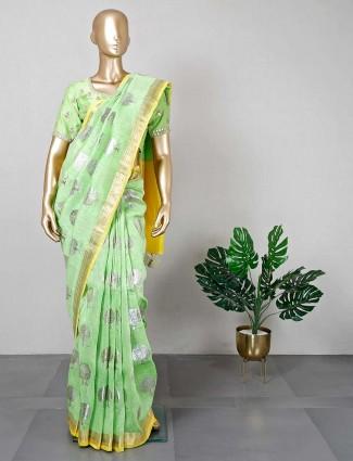 Green designer foli print cotton silk saree
