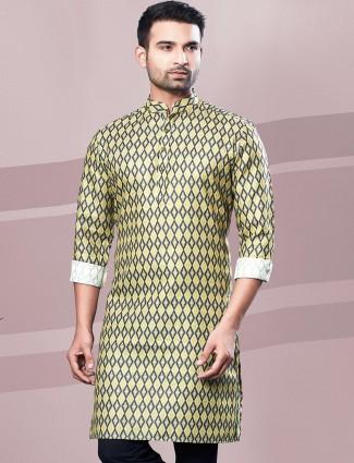 Green digital printed cotton kurta