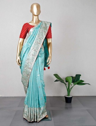 Green festive wear designer cotton silk saree