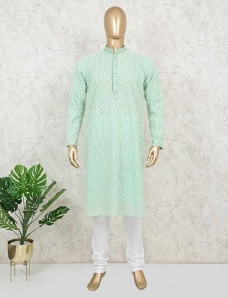Green georgette festive function kurta suit