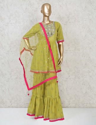 Green georgette festive special punjabi sharara suit