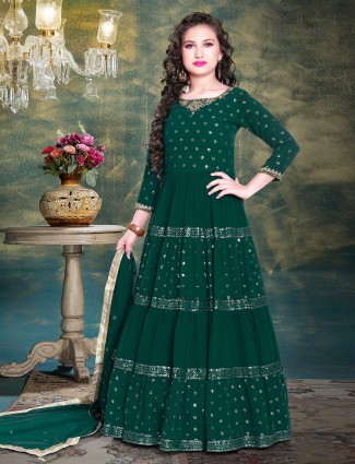 Green georgette gown for girls