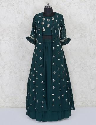 Green georgette lehenga choli with jacket