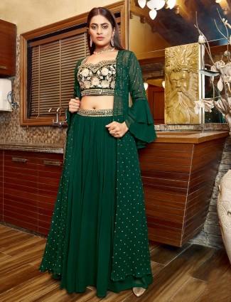 Green georgette lehenga suit for wedding wear