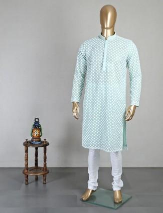 Green georgette mens kurta suit with chikan thread work