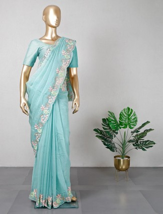 Green georgette saree for festive days